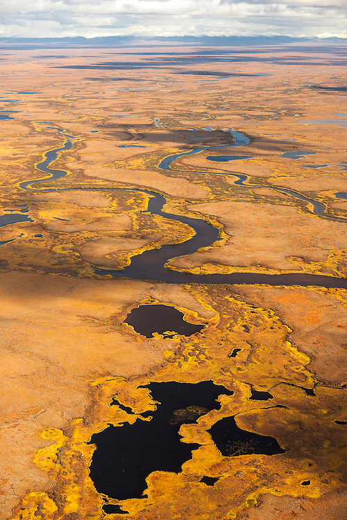 Aerial views of the lakes, ponds, rivers, and fall colored tundra of the Yukon Kuskokwim delta area near Quinhagak, Alaska