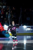 KELOWNA, BC - SEPTEMBER 21:  Pavel Novak #11 of the Kelowna Rockets enters the ice for home opener against the Spokane Chiefs at Prospera Place on September 21, 2019 in Kelowna, Canada. (Photo by Marissa Baecker/Shoot the Breeze)