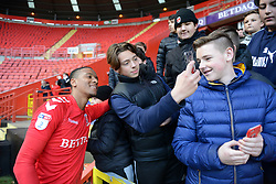 Charlton Athletic's Ezri Konsa poses for a selfie with fans
