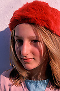A793H5 Young blonde pretty  girl wearing soft red hat