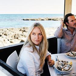 Collette Dinnigan and her husand Bradley Cocks, having lunch at Il Principe del Mare restaurant. Savelletri, Italia. September 28, 2019.