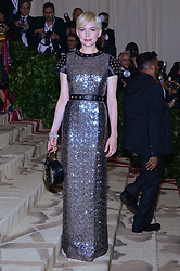 Michelle Williams walking the red carpet at The Metropolitan Museum of Art Costume Institute Benefit celebrating the opening of Heavenly Bodies : Fashion and the Catholic Imagination held at The Metropolitan Museum of Art  in New York, NY, on May 7, 2018. (Photo by Anthony Behar/Sipa USA)