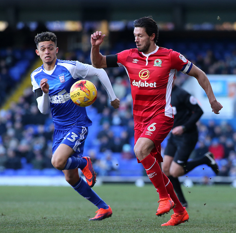 Blackburn Rovers' Jason Lowe gets away from Ipswich Town's Andre Dozzell<br /> <br /> Photographer David Shipman/CameraSport<br /> <br /> The EFL Sky Bet Championship - Ipswich Town v Blackburn Rovers - Saturday 14th January 2017 - Portman Road - Ipswich<br /> <br /> World Copyright © 2017 CameraSport. All rights reserved. 43 Linden Ave. Countesthorpe. Leicester. England. LE8 5PG - Tel: +44 (0) 116 277 4147 - admin@camerasport.com - www.camerasport.com