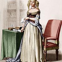 Marie de Rabutin Chantal, marquise de Sevigne (1626-1696) femme de lettres francaise, gravure par Gabriel Louis Lestudier-Lacour (1800-1849) d'apres un dessin par Hippolyte Flandrin (1809-1864) --- Marie de Rabutin Chantal, marquise de Sevigne (1626-1696) french woman of letters, engraving by  Gabriel Louis Lestudier-Lacour (1800-1849) after Hippolyte Flandrin (1809-1864) colorized document<br /> <br /> Copyright Rue Des Archives/Writer Pictures<br /> <br /> NO FRANCE, NO AGENCY SALES