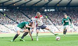 Hibernian's Jordan Forester and Falkirk's Craig Sibbald. <br /> Hibernian 0 v 1 Falkirk, William Hill Scottish Cup semi-final, played 18/4/2015 at Hamden Park, Glasgow.