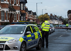 © Licensed to London News Pictures. 27/04/2017. London, UK. A police cordon around a property in Willesden, North London which was raided by anti-terror police in the early hours of this morning. A woman was shot and four people were arrested in the raid. Photo credit: Graham Eva/LNP