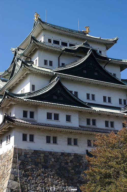 The main donjon of the Nagoya Castle complex in autumn, showing the golden dolphins on top of the roof. The golden dolphins symbolised the hope that dolphins, which live in water would protect the castle from fire. The original castle burnt down due to an American bombing raid on Nagoya City in World War two.