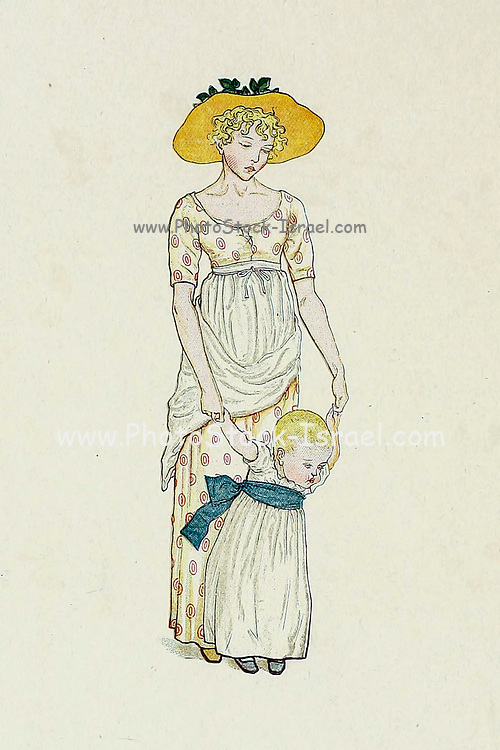 Illustration of a Mother and toddler girl from the book ' A day in a child's life ' Illustrated by Kate Greenaway. Music by Myles Birket Foster, Published in London and New York By George Routledge and Sons in 1881