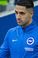 Beram Kayal (Brighton) looking subdued as he comes onto the pitch at the start of the FA Cup fourth round match between Brighton and Hove Albion and West Bromwich Albion at the American Express Community Stadium, Brighton and Hove, England on 26 January 2019.