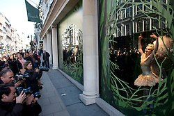 © Licensed to London News Pictures.30/10/2013. London, UK.Elena Glurdjidze, senior principal ballerina at the English National Ballet performs as Clara the Nutcracker doll in Fenwicks window to  launch the 'Enchanted Christmas' window theme of Fenwick Of Bond Street. Photo credit : Peter Kollanyi/LNP