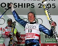 ◊Copyright:<br />Siegerehrung<br />◊Photographer:<br />Norbert Juvan<br />◊Name:<br />Svindal<br />◊Rubric:<br />Sport<br />◊Type:<br />Ski alpin<br />◊Event:<br />FIS Alpine Ski WM Bormio 2005, Kombination Herren, Siegerehrung<br />◊Site:<br />Bormio, Italien<br />◊Date:<br />03/02/05<br />◊Description:<br />Benjamin Raich (AUT), Aksel Lund Svindal (NOR)<br />◊Archive:<br />DCSNJ-0302051383<br />◊RegDate:<br />03.02.2005<br />◊Note:<br />8 MB - BG/BG - Nutzungshinweis: Es gelten unsere Allgemeinen Geschaeftsbedingungen (AGB) bzw. Sondervereinbarungen in schriftlicher Form. Die AGB finden Sie auf www.GEPA-pictures.com.<br />Use of picture only according to written agreements or to our business terms as shown on our website www.GEPA-pictures.com.