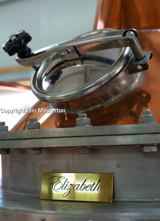 Gin still at  Dunnet Bay Distillery in Caithness on  the North Coast 500 scenic driving route in northern Scotland, UK