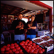 One of the many fruit and vegetable stands that dot the highways along in the Eastern Townships of Quebec, Canada