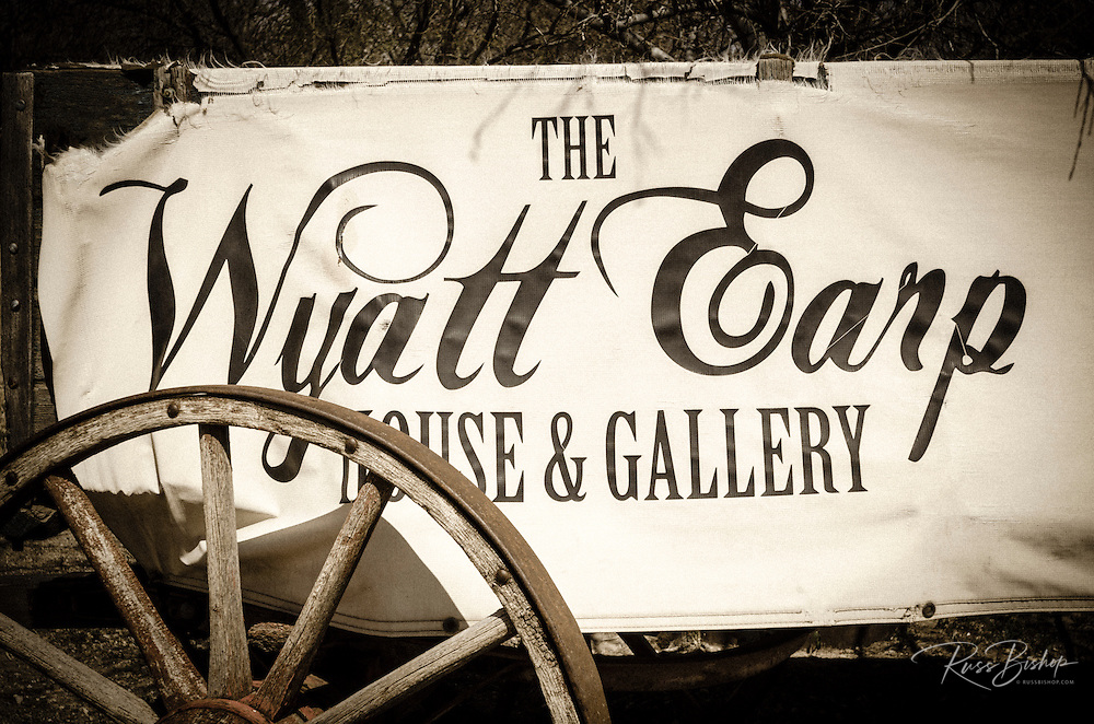 Wagon and sign at the Wyatt Earp House, Tombstone, Arizona USA