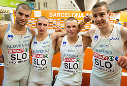 Marko Macuh, Uros Jovanovi, Erik Voncina and Sebastjan Jagarinec of Slovenia after the 4x400m Mens Relay Heats during day five of the 20th European Athletics Championships at the Olympic Stadium on July 31, 2010 in Barcelona, Spain.  (Photo by Vid Ponikvar / Sportida)