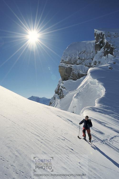Josef Schumacher is ascending the peak of Bueemberg, Canton Schwyz, Switzerland