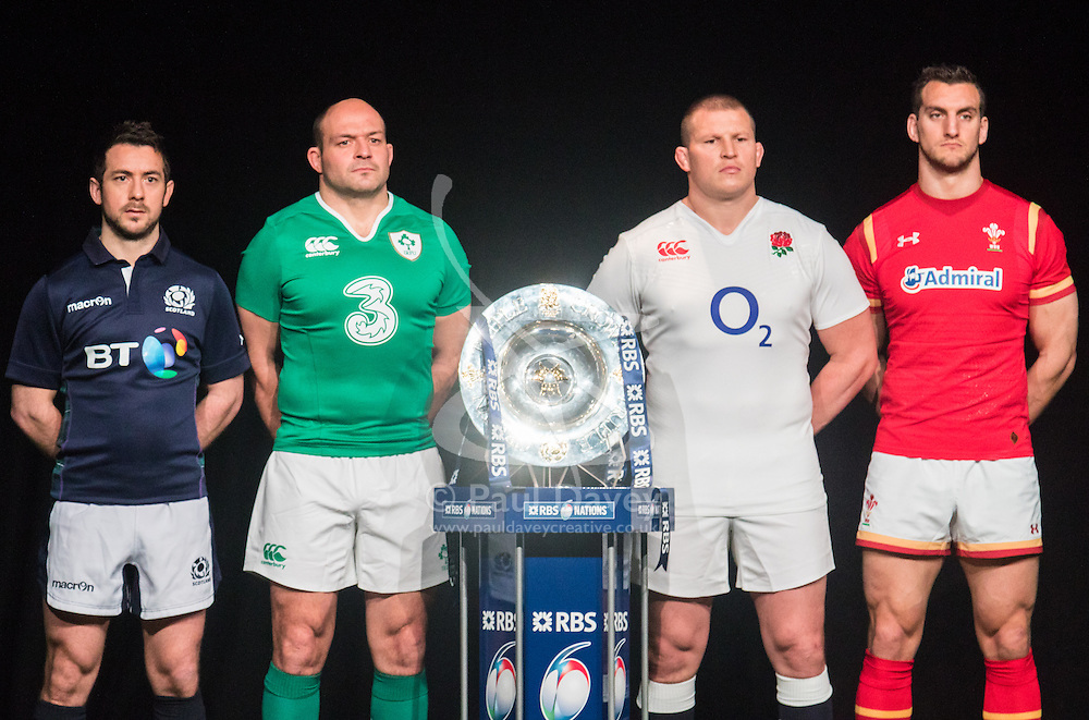 Hurlingham Club, London, January 27th 2016. Home Nations Captains, left to right,  Greig Laidlaw - Scotland, Rory Best - Ireland, Dylan Hartley - England and Sam Warburton - Wales at the launch of the RBS Six Nations Rugby Tornament. ///FOR LICENCING CONTACT: paul@pauldaveycreative.co.uk TEL:+44 (0) 7966 016 296 or +44 (0) 20 8969 6875. ©2015 Paul R Davey. All rights reserved.