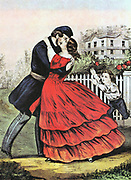 Home from the War': Currier and Ives print of Union (northern) soldier returning safely to home and family at end of American Civil War 1865.