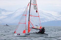 Day 1 of the RYA Youth National Championships 2013 held at Largs Sailing Club, Scotland from the 31st March - 5th April. ..1505, Tilly JAMES, Rebecca MORRIS, New Quay YC, 29er..For Further Information Contact..Matt Carter.Racing Communications Officer.Royal Yachting Association.M: 07769 505203.E: matt.carter@rya.org.uk ..Image Credit Marc Turner / RYA..