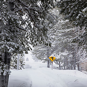 Winter life as a storm sets in to Mammoth Lakes, California.