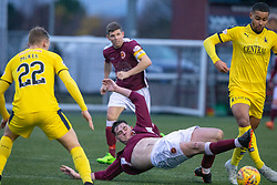 Stenhousemuir's Conor McBrearty and Falkirk's Dennon Lewis. Stenhousemuir 4 v 2 Falkirk, 3rd Round of the William Hill Scottish Cup played 24/11/2018 at Ochilview Park, Larbert.