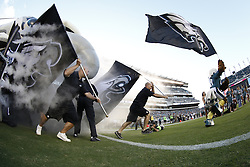 The Philadelphia Eagles mascot Swoop lead the team onto the field with an Eagles flag before the preseason NFL Game between The New York Jets and the Philadelphia Eagles at Lincoln Financial Field in Philadelphia on Thursday August 29th 2014. The Eagles won 37-7. (Brian Garfinkel/Philadelphia Eagles)
