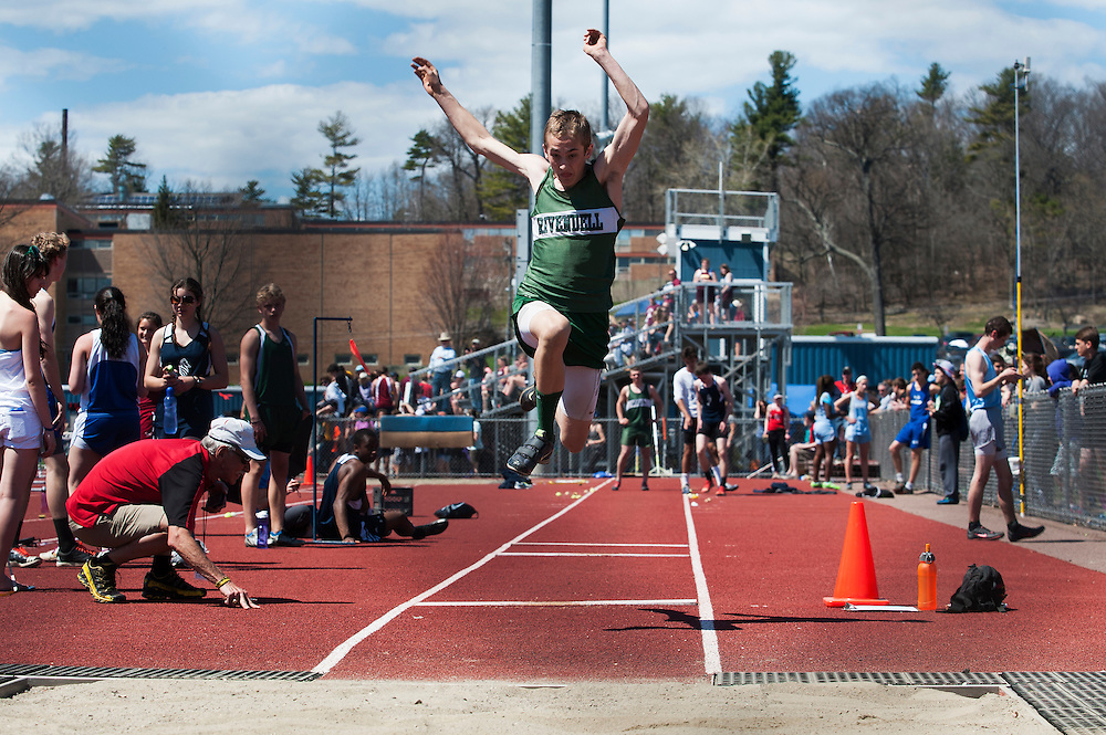 Rivendell's Owen Pelletier competes in the boys long jump during the Burlington track and field invitational at Burlington high school on Saturday afternoon May 2, 2015 in Burlington, Vermont. (BRIAN JENKINS, for the Free Press)