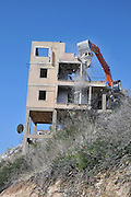 Israel, Beit Oren, Demolishing a house that was damaged in the Carmel Forest fire