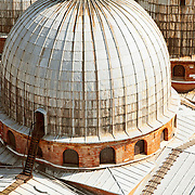 The roof and domes atop St. Mark's Basilica (Basilica di San Marco) in Venice, Italy.