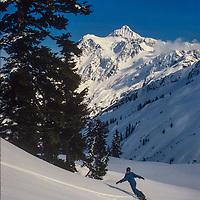 Skiers enjoy new powder snow at Mount Baker Ski Area, Washington.