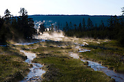 Steam rises from water heated gy geothermal activity in Yellowstone National Park, Wyoming.