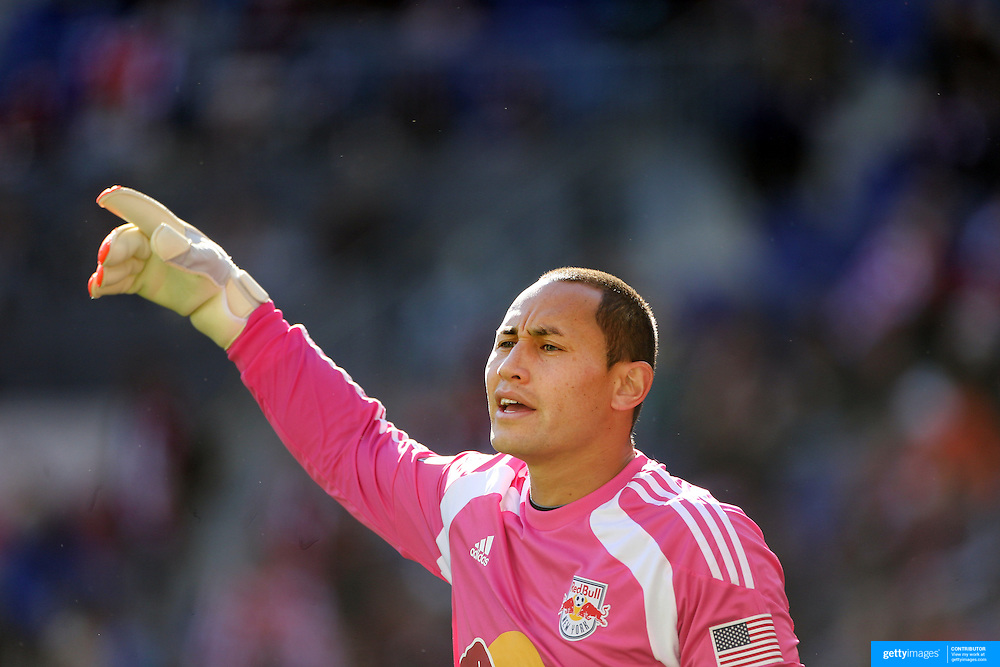 Goalkeeper Luis Robles, New York Red Bulls, in action during the New York Red Bulls Vs Columbus Crew, Major League Soccer regular season match at Red Bull Arena, Harrison, New Jersey. USA. 19th October 2014. Photo Tim Clayton