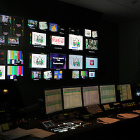 USA, Massachusetts, Boston. Broadcasting Control Center at WGBH Studios.