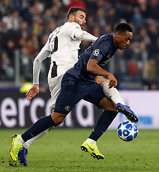 November 8, 2018 - Turin, Italy - Andrea Barzagli (L) of Juventus and Anthony Martial of Manchester United vie for the ball during the Group H match of the UEFA Champions League between Juventus FC and Manchester United FC on November 7, 2018 at Juventus Stadium in Turin, Italy. (Credit Image: © Mike Kireev/NurPhoto via ZUMA Press)