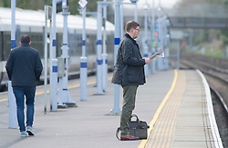©Licensed to London News Pictures 13/03/2020<br /> Pettswood, UK. An empty platform. London commuters at Pettswood train station this morning in Pettswood, Kent are keeping their distance from each other by standing a meter apart as the Coronavirus threat continues in the UK. Commuter numbers are down as many work from home.  Photo credit: Grant Falvey/LNP