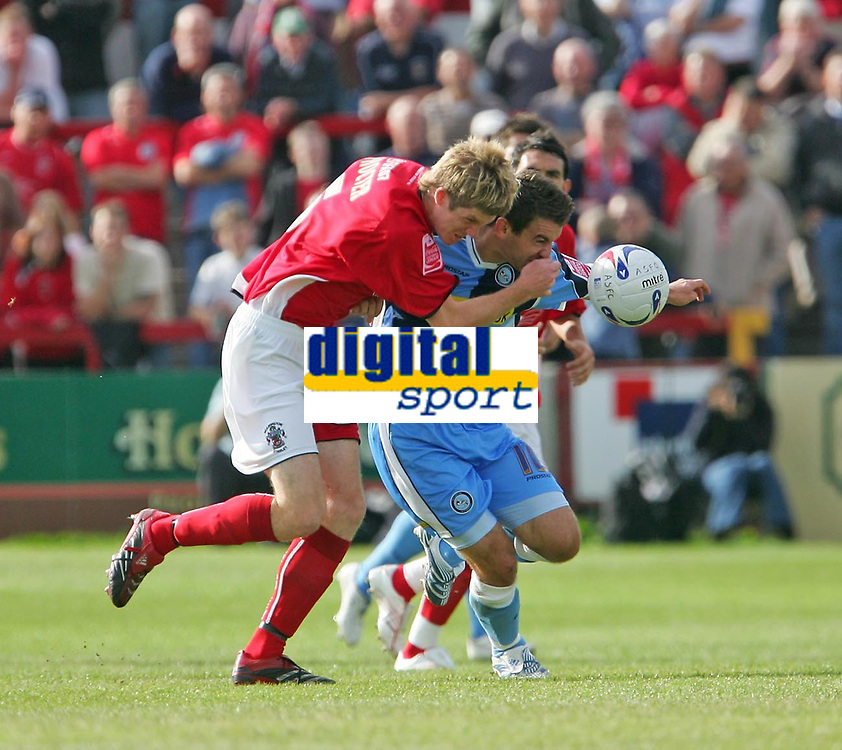 Photo: Andrew Unwin.<br />Accrington Stanley v Wycombe Wanderers. Coca Cola League 2. 30/09/2006.<br />Wycombe's Matt Bloomfield (C) tries to break forward.