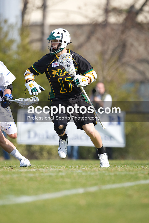 23 February 2008: Vermont Catamonts men's lacrosse attackman Alex Young (17) in a 19-7 loss to the Duke Blue Devils at Koskinen Stadium in Durham, NC