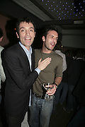 Tom Sykes and James Alexander,  Book launch for ' What Did I Do last night' by Tom Sykes. Century Club. Shaftesbury Ave. London. 16 January 2006. -DO NOT ARCHIVE-© Copyright Photograph by Dafydd Jones. 248 Clapham Rd. London SW9 0PZ. Tel 0207 820 0771. www.dafjones.com.
