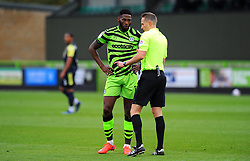 Referee has words with Jamille Matt of Forest Green Rovers- Mandatory by-line: Nizaam Jones/JMP - 17/10/2020 - FOOTBALL - innocent New Lawn Stadium - Nailsworth, England - Forest Green Rovers v Stevenage - Sky Bet League Two