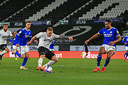 Martyn Waghorn of Derby County  (9) shoots at goal during the EFL Sky Bet Championship match between Derby County and Cardiff City at the Pride Park, Derby, England on 28 October 2020.