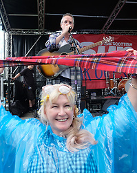 """Party at the Palace, Linlithgow, Saturday 12th August 2017<br /> <br /> Stuart """"Woody"""" Wood from the Bay City Rollers performs with his new band Woody's Rollercoasters on the Break Out Stage. His performance attracted some older Rollers fans to the stage.<br /> <br /> (c) Alex Todd 