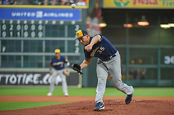 March 26, 2018 - Houston, TX, U.S. - HOUSTON, TX - MARCH 26: Milwaukee Brewers pitcher Brent Suter (35) delivers a pitch during the game between the Milwaukee Brewers and Houston Astros at Minute Maid Park on March 26, 2018 in Houston, Texas. (Photo by Ken Murray/Icon Sportswire) (Credit Image: © Ken Murray/Icon SMI via ZUMA Press)