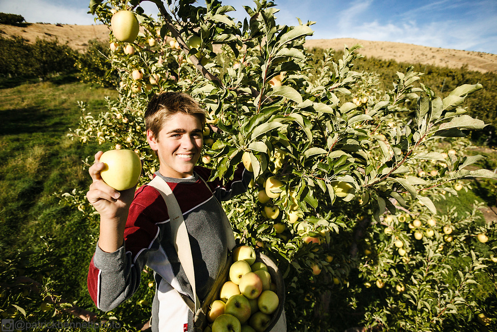 Proud of his Washington apples.