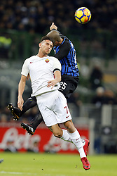 January 21, 2018 - Rome, Italy - Olympic Stadium, MILAN, Italy - 21/01/2018..(L-R) Lorenzo pellegrini of Roma and Joao Miranda of Inter Milan fight for the ball during their Italian Serie A soccer match...Credit: Giampiero Sposito/Pacific Press (Credit Image: © Giampiero Sposito/Pacific Press via ZUMA Wire)