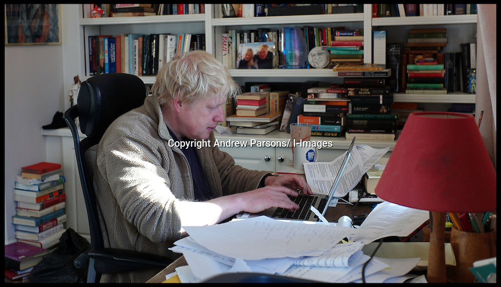 The London Mayor Boris Johnson working on his London Economy Manifesto speech in his office at home in London, before launching the manifesto in Croydon later that morning, Wednesday April 4, 2012. Photo By Andrew Parsons/ i-Images...This image can only be used for Live Magazine