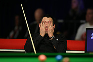 Ronnie O'Sullivan of England reacts during his 2nd round match against Graeme Dott of Scotland. ManBetx Welsh Open Snooker 2018, day three at the Motorpoint Arena in Cardiff, South Wales on Wednesday 28th February 2018.<br /> pic by Andrew Orchard, Andrew Orchard sports photography.