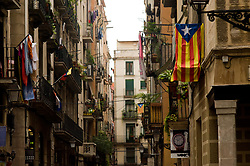 September 6, 2017 - Barcelona, Catalonia, Spain - A estelada flag (symbol of Catalan independence) hangs from a balcony in Barcelona. The Catalan Parliament has passed a law to call a referendum of independence the next first of October. The unionist forces of Catalonia and the Spanish government are frontally opposed to the referendum and consider it illegal. (Credit Image: © Jordi Boixareu via ZUMA Wire)