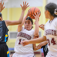 Rehoboth Lynx Talia Bowman (11) looks for an opening in the Navajo Prep Eagles defense Friday at Rehoboth High School.