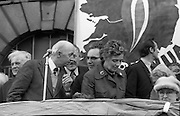 Sinn Fein (Provo) Dublin Parade.   K22..1976..25.04.1976..04.25.1976..25th April 1976..Sinn Fein held an Easter Rising Commemorative  parade..The parade started at St Stephens Green, Dublin and proceeded through the streets to the G.P.O.in O'Connell Street, the scene of the centre of the 1916 uprising..Image of the leadership of the Sinn Fein movement giving speeches from the viewing stand.