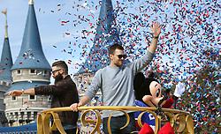 Super Bowl LIII MVP Julian Edelman and New England Patriots quarterback Tom Brady (center) celebrate with Mickey Mouse in the Super Bowl victory parade in the Magic Kingdom on Monday, February 4, 2019 at Walt Disney World, in Lake Buena Vista, FL, USA. Photo by Joe Burbank/Orlando Sentinel/TNS/ABACAPRESS.COM